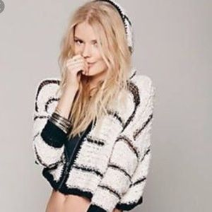 Free People crochet back hooded cropped cardigan